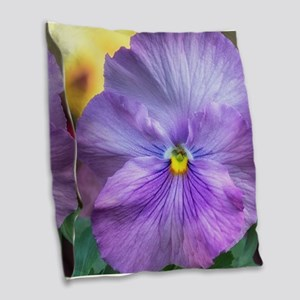 Lavender Pansy Burlap Throw Pillow