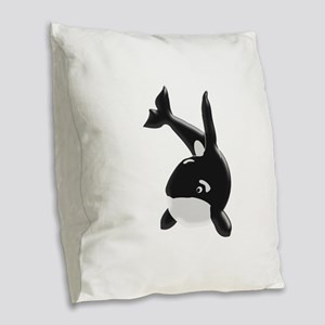 Killer Whale Burlap Throw Pillow