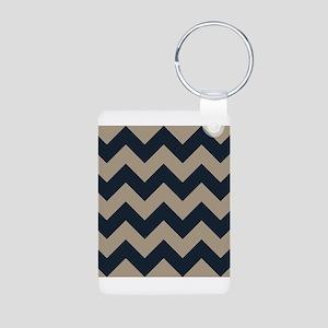 beachy sand tan and navy chevron pattern Keychains