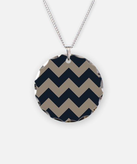 beachy sand tan and navy chevron pattern Necklace