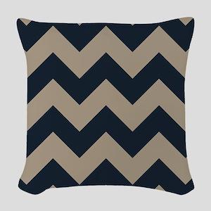 beachy sand tan and navy chevron pattern Woven Thr