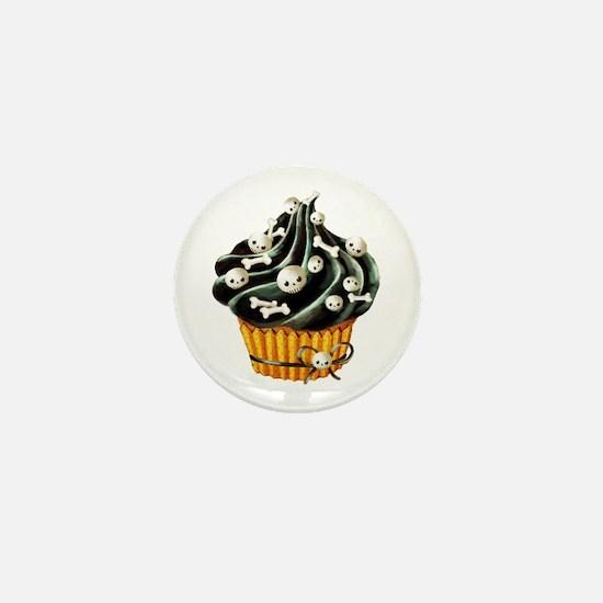 Black Halloween Cupcake Mini Button
