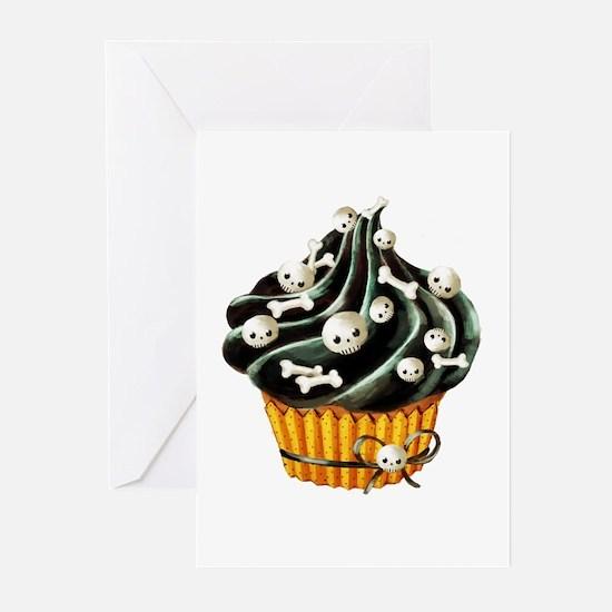 Black Halloween Cupcake Greeting Cards
