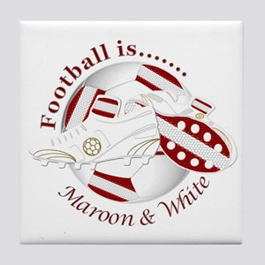 Football Colors Maroon and White Tile Coaster