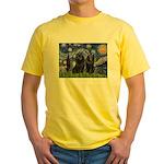 Starry Night & Schipperke Yellow T-Shirt