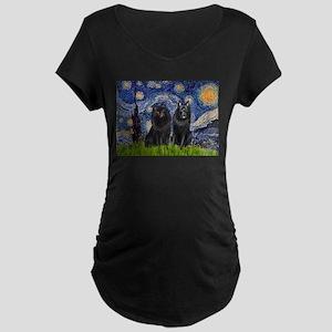 Starry Night & Schipperke Maternity Dark T-Shirt