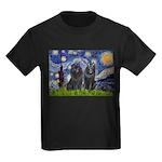 Starry Night & Schipperke Kids Dark T-Shirt