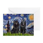 Starry Night & Schipperke Greeting Cards (Pk of 10
