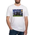 Starry Night & Schipperke Fitted T-Shirt