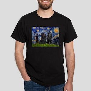 Starry Night & Schipperke Dark T-Shirt