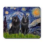Starry Night & Schipperke Mousepad