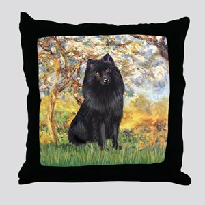 Spring & Schipperke Throw Pillow