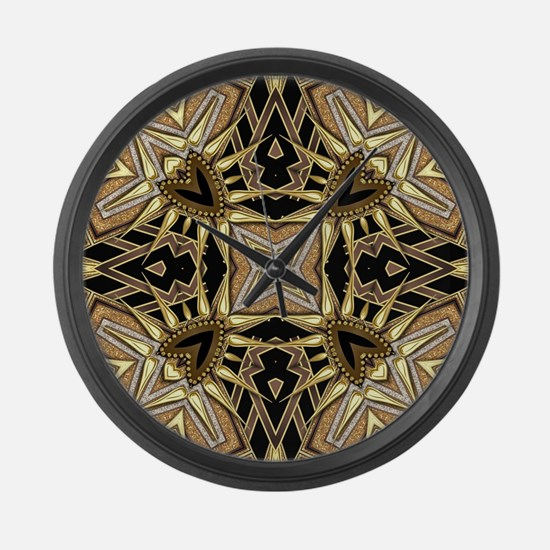 Art Deco Black Gold Hearts Large Wall Clock