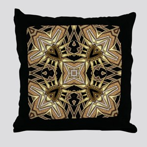 Art Deco Black Gold Hearts Throw Pillow