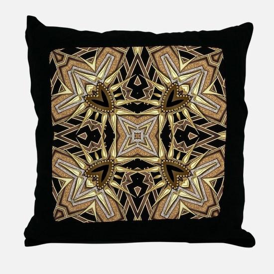 Art Deco Black Gold Hearts Throw Pillow