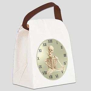 13 Hour Skeleton clock Canvas Lunch Bag