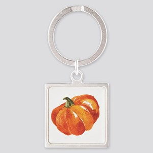 Watercolor Pumpkins Square Keychain