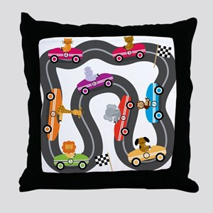 Race Day Racing Cars Throw Pillow