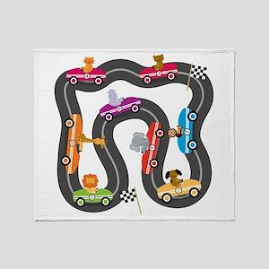 Race Day Racing Cars Throw Blanket