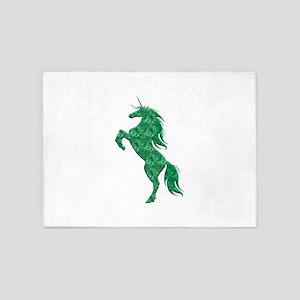 Green Fire Unicorn 5'x7'Area Rug