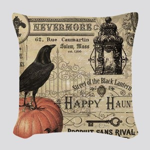 Modern vintage Halloween Woven Throw Pillow