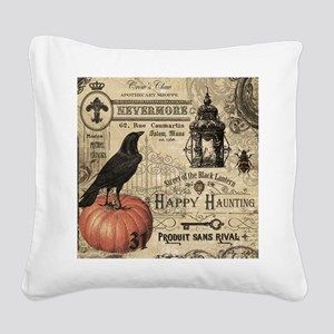 Modern vintage Halloween Square Canvas Pillow