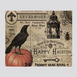 Modern vintage Halloween Throw Blanket
