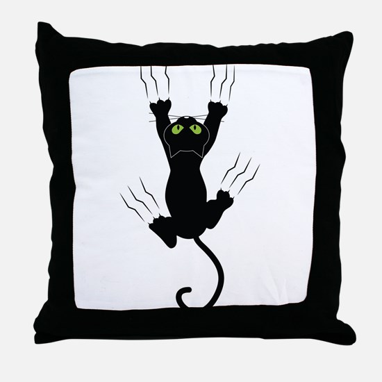 Cat Scratching Throw Pillow