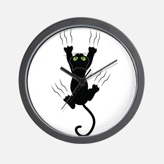 Cat Scratching Wall Clock
