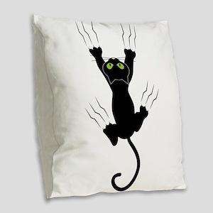 Cat Scratching Burlap Throw Pillow