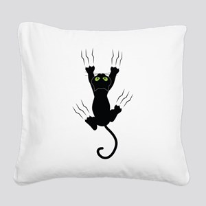 Cat Scratching Square Canvas Pillow