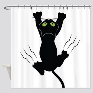 Cat Scratching Shower Curtain