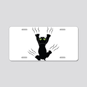 Cat Scratching Aluminum License Plate