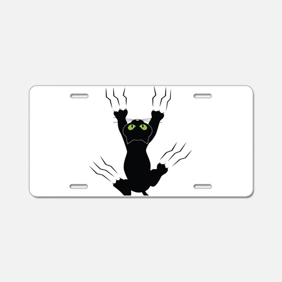 Cat Scratching Aluminum License Plate