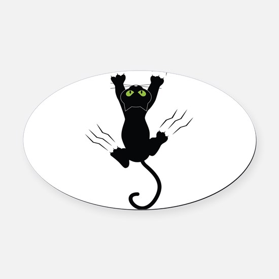 Cat Scratching Oval Car Magnet
