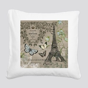 Vintage French Eiffel Tower Square Canvas Pillow