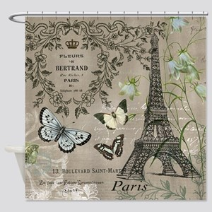 Vintage French Eiffel Tower Shower Curtain