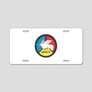 Peace Symbol Circle Dove Aluminum License Plate