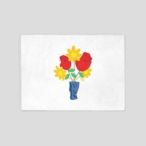 Roses Flower Vase Floral 5'x7'Area Rug