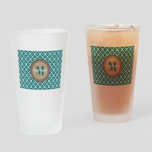 Teal Seamless Pattern Monogram Drinking Glass