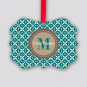 Teal Seamless Pattern Monogram Picture Ornament
