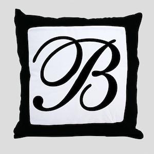 INITIAL B MONOGRAM Throw Pillow