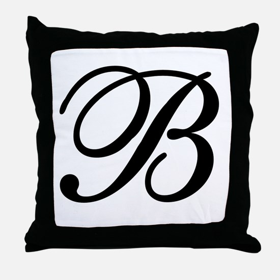 INITIAL B MONOGRAM Throw Pillow