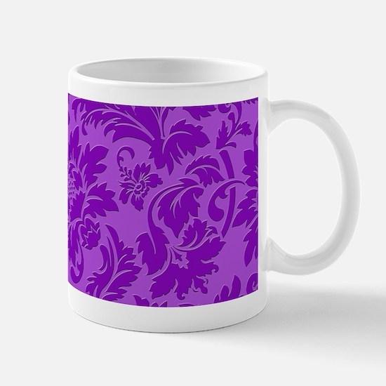 Purple Monotones Floral Damasks Mugs