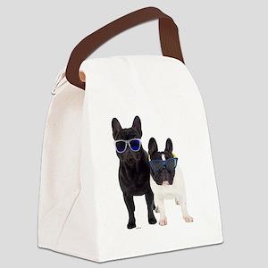 Bulldog Frances con Gafas de sol Canvas Lunch Bag