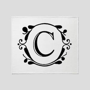 INITIAL C MONOGRAM Throw Blanket