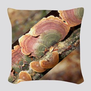 Lichen On A Tree Trunk Woven Throw Pillow