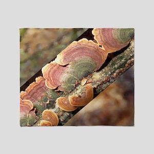 Lichen On A Tree Trunk Throw Blanket