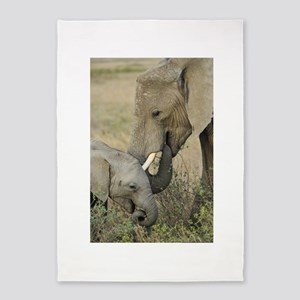 Momma and Baby Elephant 5'x7'Area Rug