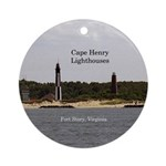 Cape Henry Lighthouses Round Ornament
